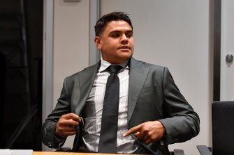 Latrell Mitchell prepares for his hearing.