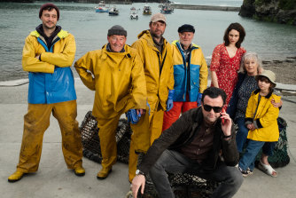 "Daniel Mays (front) stars as Danny, the music label manager who ""discovers"" a group of Cornwall sea-shanty singers and turns them into pop stars in the based-on-fact comedy Fisherman's Friends."
