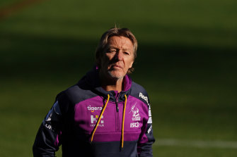"Craig Bellamy, pictured at training on Thursday, has regrouped after describing the Storm's loss to Canberra last week as ""embarrassing""."