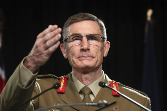 Chief of the Defence Force General Angus Campbell takes questions on Thursday.