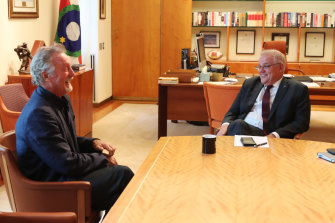 Actor Bryan Brown and Prime Minister Scott Morrison in the PM's office on February 24.