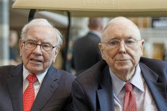 Berkshire Hathaway chairman Warren Buffett with long-time business partner Charlie Munger.