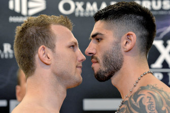 Jeff Horn and Michael Zerafa face off at their weigh-in on Tuesday.