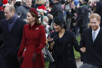 Prince William (left) Kate, Duchess of Cambridge (second left) Meghan Duchess of Sussex and Prince Harry.