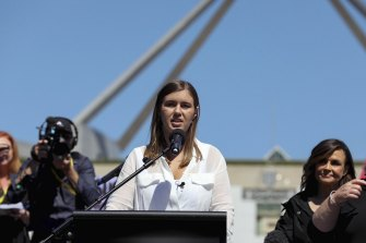 Brittany Higgins speaks at the March 4 Justice protest outside Parliament House.