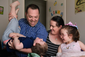Angela Hind with her husband Heath Hind and daughter Matilda, 6, and son Liam, 4.