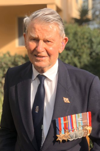Peter with his war medals on Anzac Day this year.