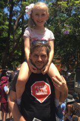 Greens MP Michael Berkman attended the protest with his daughter Bonnie.