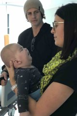 Mrs Goodwin with Winston meeting Nathan Fyfe in hospital.