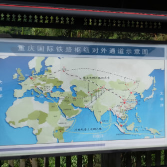 A map of the Belt Road Initiative near Chongqing Western Logistics Park.