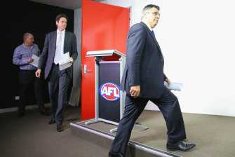 The then AFL CEO Andrew Demetriou and Gillon McLachlan in 2014. Demetriou says McLachlan should now be thinking about his own successor.