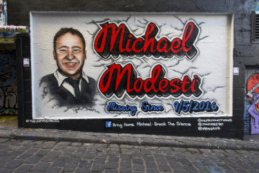 The mural of Michael Modesti in Hosier Lane, Melbourne.