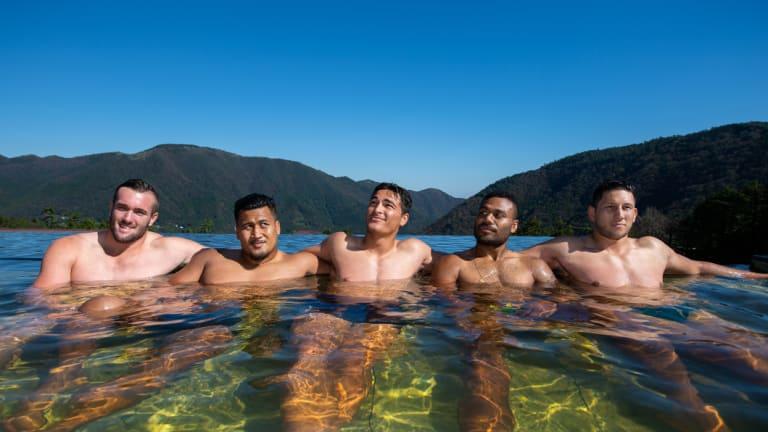 High hopes: Wallabies Izack Rodda, Brandon Paenga-Amosa, Jordan Petaia, Samu Kerevi and Adam Coleman in camp in central Japan this week.