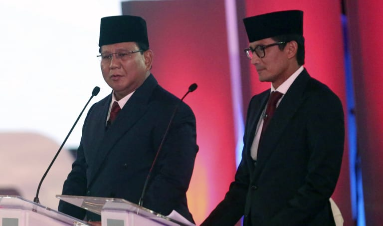 Indonesian presidential candidate Prabowo Subianto and his running mate Sandiaga Uno during the debate.