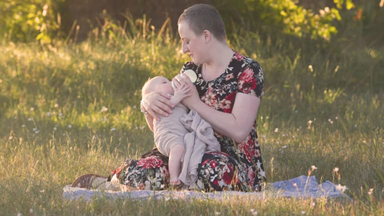 FarrahMillar who was diagnosed with breast cancer on the day her second son was born.