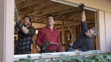 Christopher Knight (right) with Property Brothers stars Jonathan and Drew Scott.