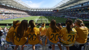 Hottest ticket in town: Over 20,000 fans packed the Bankwest arena for the friendly against Chile.