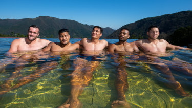 The Wallabies enjoyed an onsen experience on their first trip to Japan last year.