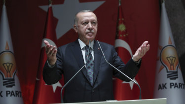 Turkey's President Recep Tayyip Erdogan speaks to his ruling party officials in Ankara.