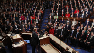 President Donald Trump delivers his 2019 State of the Union address to a joint session of Congress on Capitol Hill.
