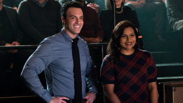 Reid Scott and Mindy Kaling in a scene from the film.