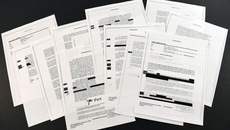 Copies of the memos written by former FBI director James Comey of his meetings with President Donald Trump.