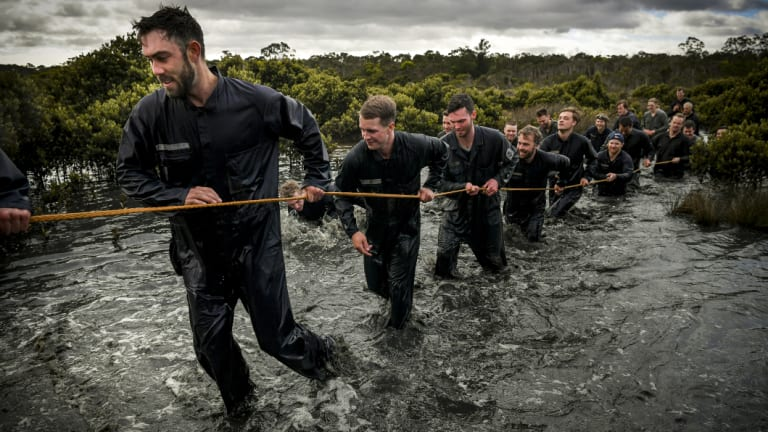 Maxwell leads the Victorian team during training at the HMAS Cerberus.
