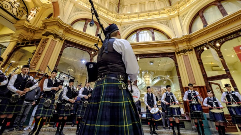 Brave hearts: a flash mob of the Scotch College Pipes and Drums Band launches the inaugural Melbourne Tartan Festival at Block Arcade.