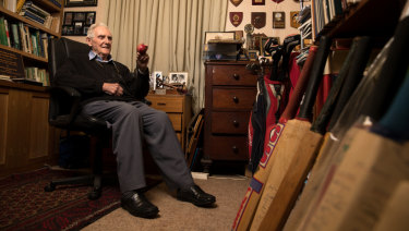 Ninety not out: Australian cricket great Alan Davidson in his Sydney home.