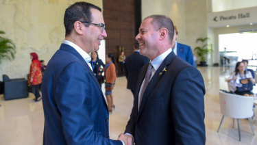 Treasurer Josh Frydenberg with US Treasury secretary Steven Mnuchin in Bali.
