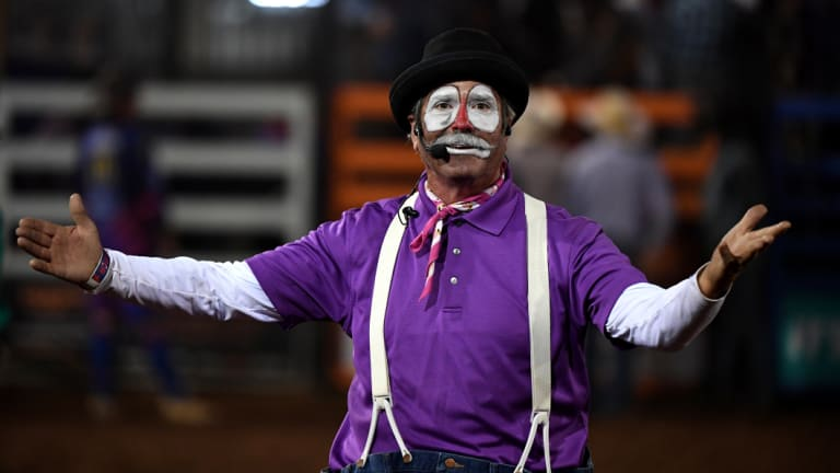 """Cliff """"Hollywood"""" Harris at the Mount Isa Rodeo on Friday."""