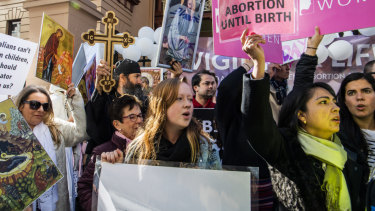 A rally outside NSW Parliament amid the abortion debate.