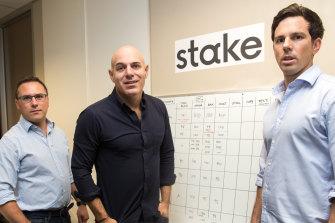 Stake founders Matt Leibowitz, right, Dan Silver and John Abitz.