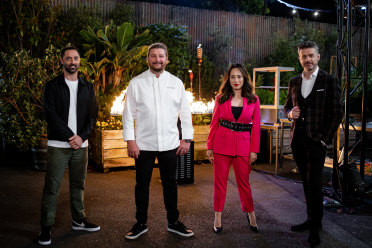 MasterChefseason 13 episode 19 fire themed immunity challenge with Scott Pickett images supplied to Good Food online by Channel 10 publicity, May 2021.