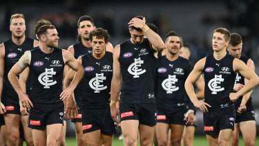 Carlton players leave the field after the loss to Port Adelaide on the weekend.