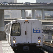 A Bay Area Rapid Transit train in Oakland, California.