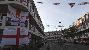 Flags on display at the Kirby Estate ahead of the semi-final against Denmark.