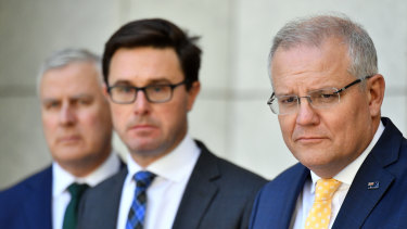 "Prime Minister Scott Morrison, with Deputy Prime Minister Michael McCormack (left) and Minister for Water Resources David Littleproud (middle), said he was ""stepping up"" his drought response."