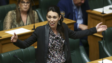 Prime Minister Jacinda Ardern speaks in the Lower House during the third reading of the Zero Carbon Bill.