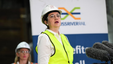 Queensland Premier Annastacia Palaszczuk and minister Kate Jones at  the Cross River Rail's Roma street station construction site last month.