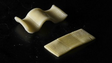 A flat-to-plump pasta before and after boiling.