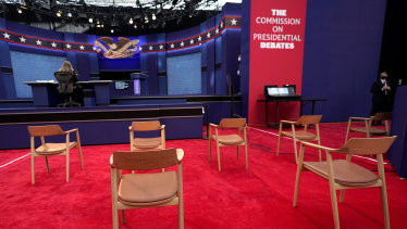 Chairs at social distance spacing inside the debate venue.