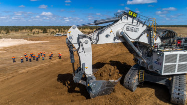 Equipment arrives to remove the overburden from Adani's Carmichael coal mine in central Queensland in July.