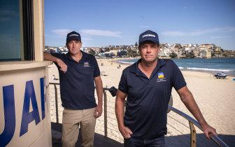 Waverley Council's lifeguard coordinator Bruce Hopkins (front) and manager of lifeguard services Matt du Plessis.