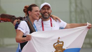 Alessandra Perilli celebrates San Marino's first Olympic medal.