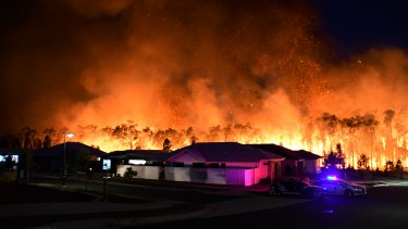 The Peregian Springs bushfire on the Sunshine Coast on Monday.