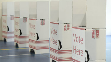 A polling booth at Ipswich Central State School today.