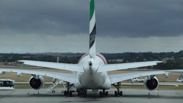 An Emirates airlines jet in Australia.