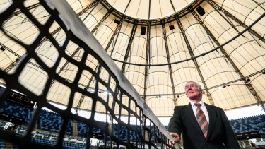 Ken Rosewall at the unveiling of the Sydney Olympic Park Tennis Centre upgrade, which includes a new roof.