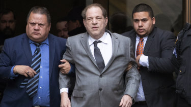 Weinstein leaves court following a bail hearing last Friday.